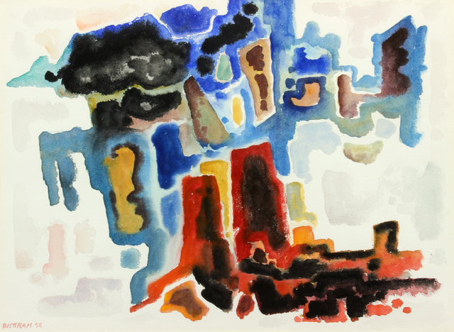 Emil Bisttram, 'Abstract Canyon', 1958, Painting, Watercolor on paper, Addison Rowe Gallery