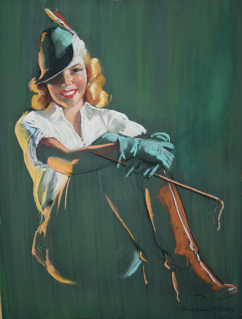 Bradshaw Crandell, 'Blonde Woman in Green Equestrian Garb', The Illustrated Gallery