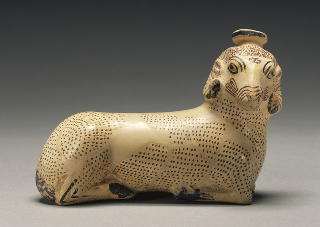 'Proto-Corinthian Aryballos in the Shape of a Recumbent Ram',  640 -625 B.C., J. Paul Getty Museum