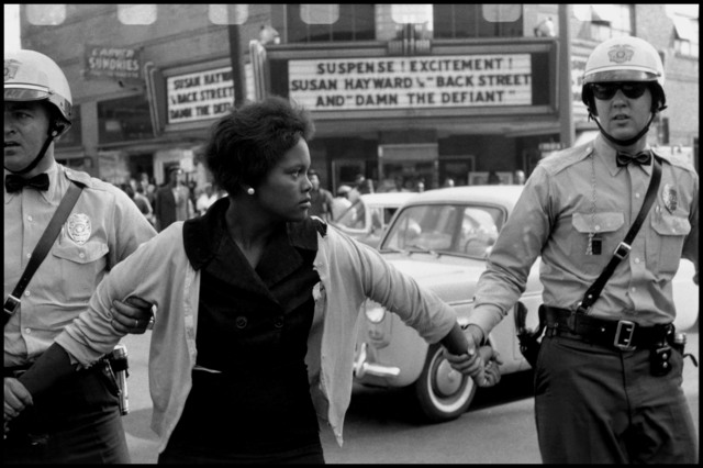 ", 'Arrest of a demonstrator. ""Damn the Defiant!"". Birmingham, Alabama. USA.,' 1963, Magnum Photos"