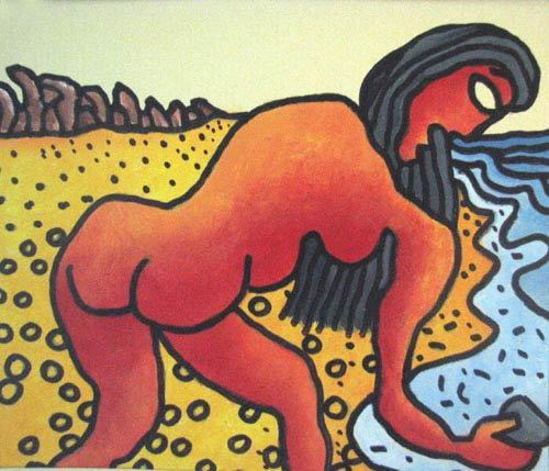 , 'Long hair, nude women collecting pebbles, Mixed Media in blue, red & yellow by Modern Artist Prakash Karmakar,' 2004, Gallery Kolkata