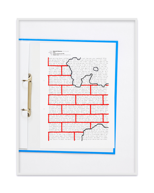 , 'A negative calligramme by Robert Fitterman (Wall red / Nr. 1),' 2018, Kadel Willborn