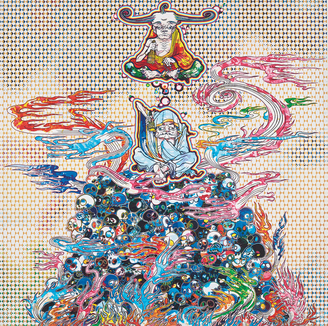 Takashi Murakami, '2 Arhats Meditating Amid the Hellfire of the Mound of the Dead', 2013, Phillips