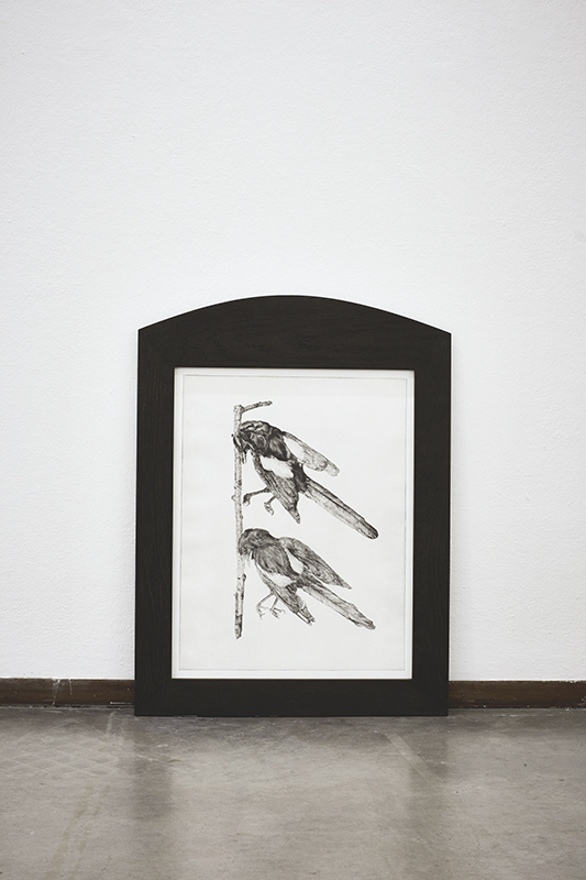 """Astrid Ehlers: """"Next year's bones don't smell clean yet, magpies"""", 2013, drypoint on paper, framed,  90 x 75 cm"""
