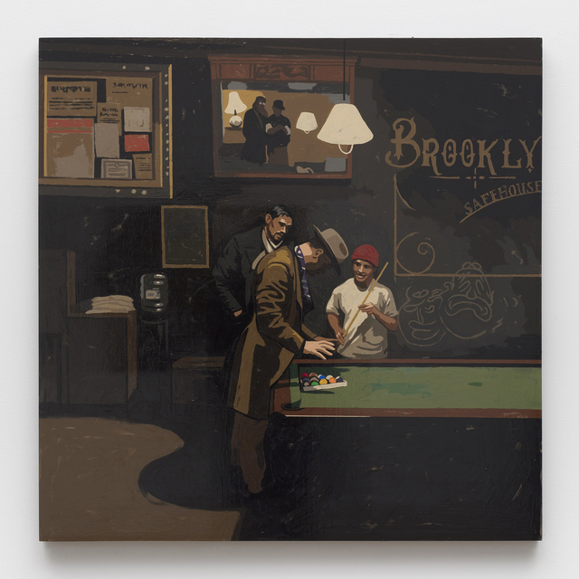Matthew Benedict, 'Pool Sharks at the Safehouse', 2019, Painting, Gouache on wood, Alexander and Bonin