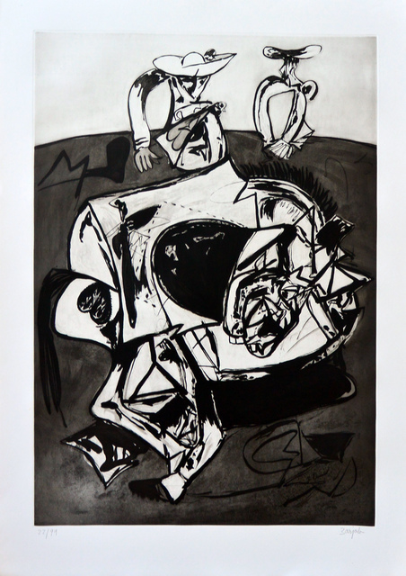 Juan Barjola, 'Caída del caballo (Falling from the Horse)', 1994, Print, Etching, aquatint and dry point on BFK Rives paper, Invertirenarte.es
