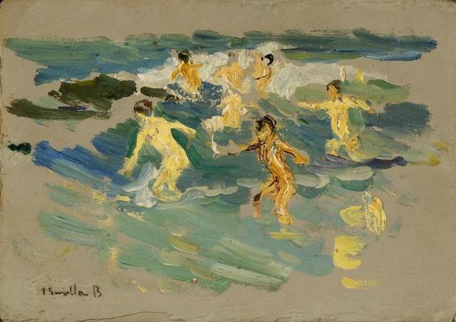 Joaquín Sorolla y Bastida, 'Beach at Valencia', ca. 1904, Painting, Oil on laminate cardboard, Clark Art Institute