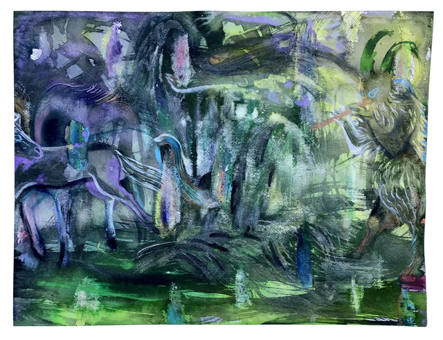 Niki Singleton, 'La Forêt de Pan', 2020, Drawing, Collage or other Work on Paper, Acrylic ink & pastel on paper, New York Studio School