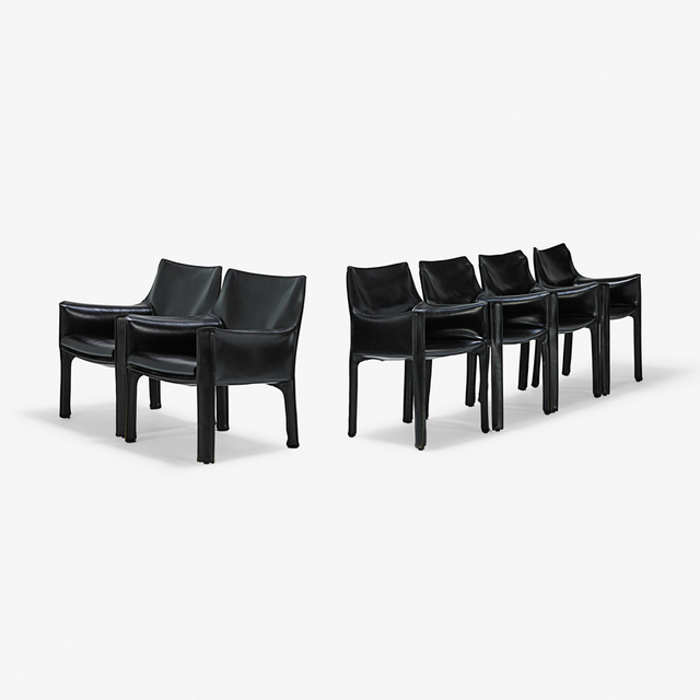 Mario Bellini, 'Six Cab chairs, 4 arm-	two lounge, Italy', 1980s, Rago