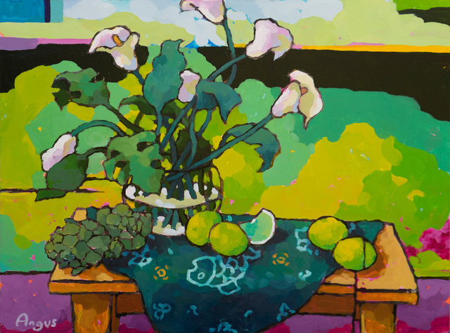 , 'Cala Lily with Limes on Green,' 2019, Ventana Fine Art