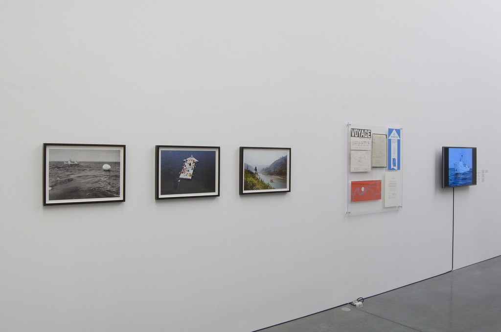 "Installation view of The PLAY's ""Voyage Happening in an Egg"" (1968); ""Current of Contemporary Art"" (1969); ""IE-The Play Have a House"" (1972); and Ephemera, as part of special exhibition ""Radical Seafaring"" on view at the Parrish Art Museum, Water Mill, New York, May 8 – July 24, 2016.  Photo: Gary Mamay"
