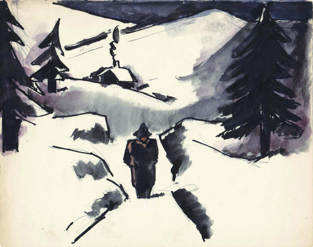 , 'Walker in the Snow,' , Boundary Gallery