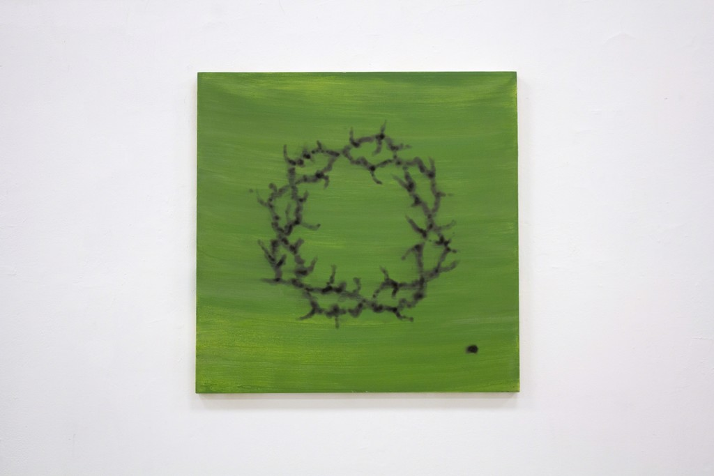 """""""Wreath Burnt on the Grass"""". 2018. Oil and charcoal (from candle smoke) on canvas, 100 x 95 cm"""