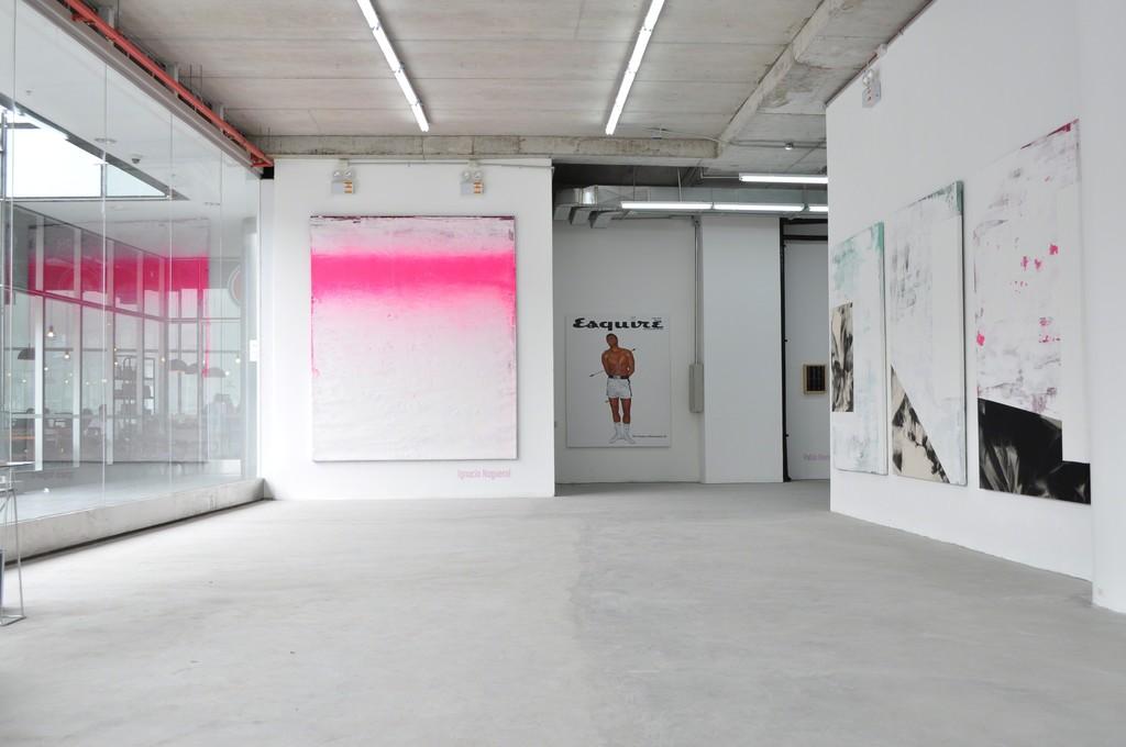 Installation shot, 'Empireo Horizonte' by Ignacio Noguerol, 'The Birth of Muhammad' by Pablo Ravina and the 'Empireo series by Noguerol.