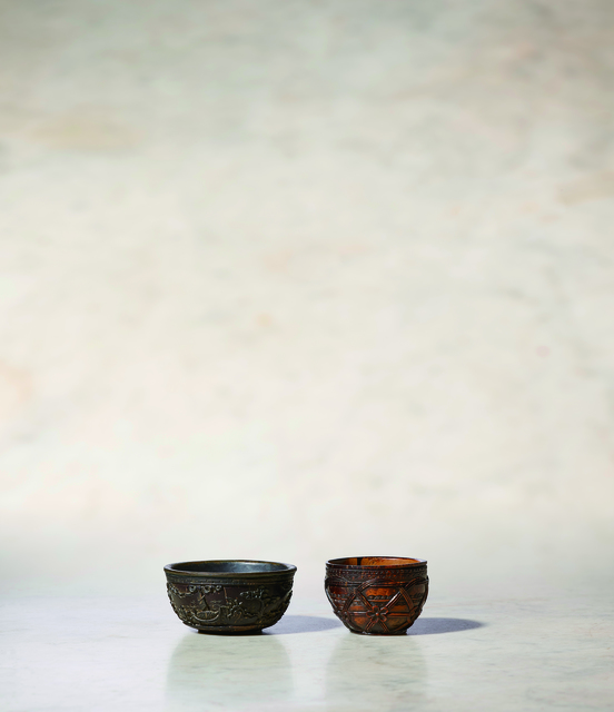 Unknown Artist, 'A Coco Der Mer Wine Cup of Circular Form (left) 清康熙 海椰殼雕人物酒杯 (左)', China: Kangxi (1662-1722), Rasti Chinese Art