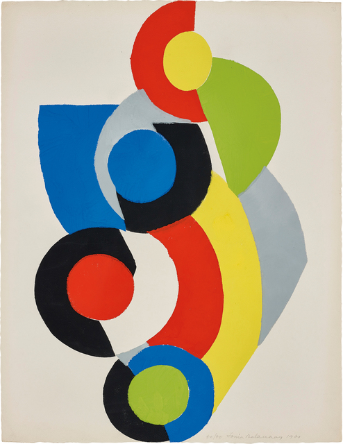 Sonia Delaunay, 'Poésie de Mots, Poésie de Couleurs (The Poetry of Words, The Poetry of Colours): one plate', 1961, Print, Pochoir in colors, on Johannot paper, the full sheet., Phillips