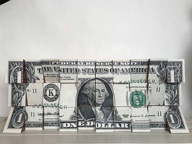 , 'One Dollar, Wooden Blocks, Ink Jet, Original, Conceptual, Contemporary Art Sign,' 2018, Flat Space Art
