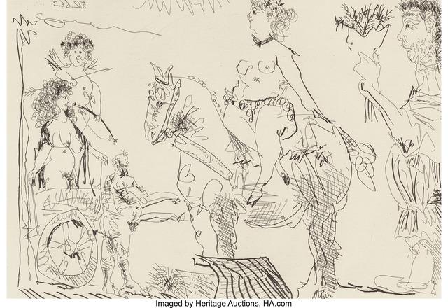 Pablo Picasso, 'Scène de théâtre: Amazone, Vénus de foire, homme au bouquet, pl. II, from Le Cocu Magnifique', 1968, Heritage Auctions