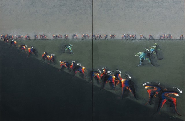 BERNARD DREYFUS, 'Leaders', Painting, Acrylic and oil on two canvases united, Finarte