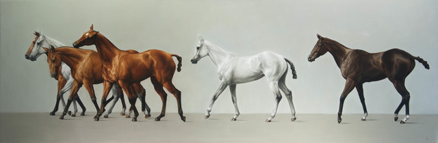, '14. Walking Line of Six Polo Ponies,' 2016, Sladmore Contemporary