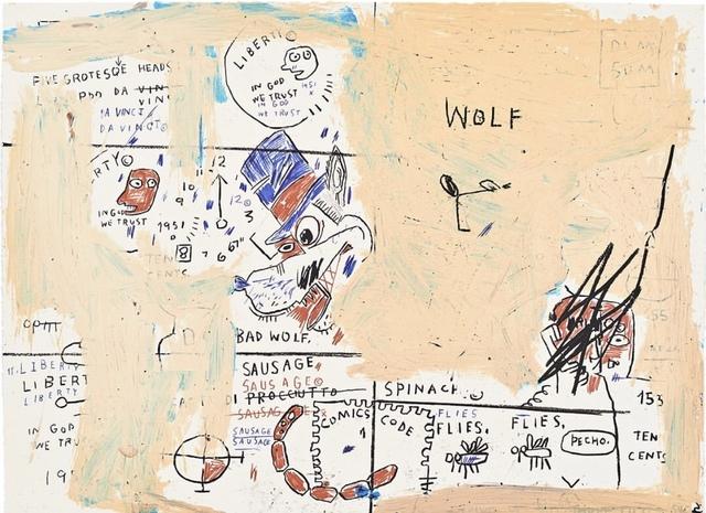 Jean-Michel Basquiat, 'Wolf Sausage', 1982-1983/2019 , John Wolf Art Advisory & Brokerage