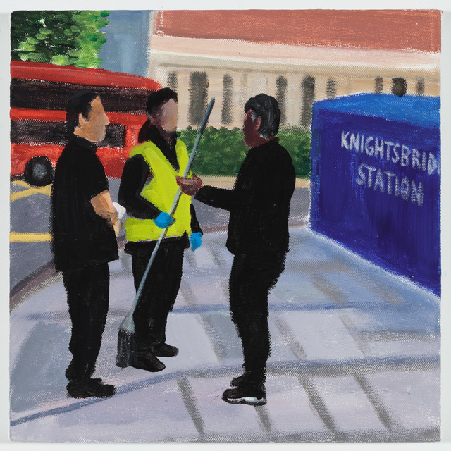 , 'A conversation between three workers (Knightsbridge Station),' 2018, P.P.O.W
