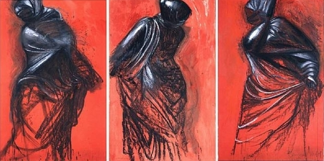 , 'Three Red Dancers (triptych),' 1989, Helwaser Gallery