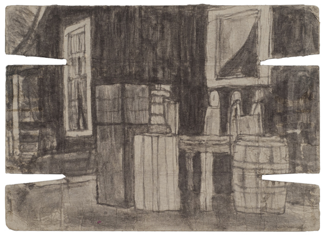 , 'Untitled (Exterior with crates and barrel; verso: landscape with buildings),' n.d., Fleisher/Ollman
