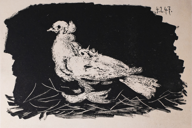 Pablo Picasso, 'Pigeon Blanc Fond Noir (White Pigeon Black Background), 1949 Limited edition Lithogrph by Pablo Picasso', 1949, White Cross