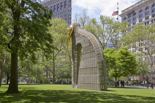 Martin Puryear, 'Big Bling, installation view in Madison Square Park, New York', 2016, Installation, Pressure-treated laminated timbers, plywood, fiberglass, gold leaf,, Madison Square Park