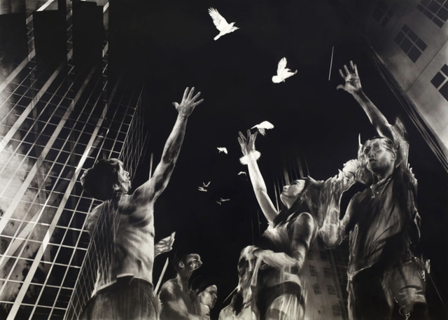 Ian Francis, 'A Flock of Birds Suspended Between Buildings', Corey Helford Gallery
