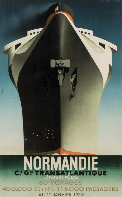A.M. Cassandre, 'Normandie Inaugural Voyage', 1938, Print, The rare lithographic poster printed in colours, Forum Auctions