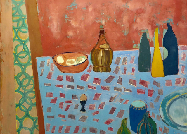 """, '""""Chianti and Galliano"""" Still Life in Pink and Light Blue,' 2010-2018, Eisenhauer Gallery"""