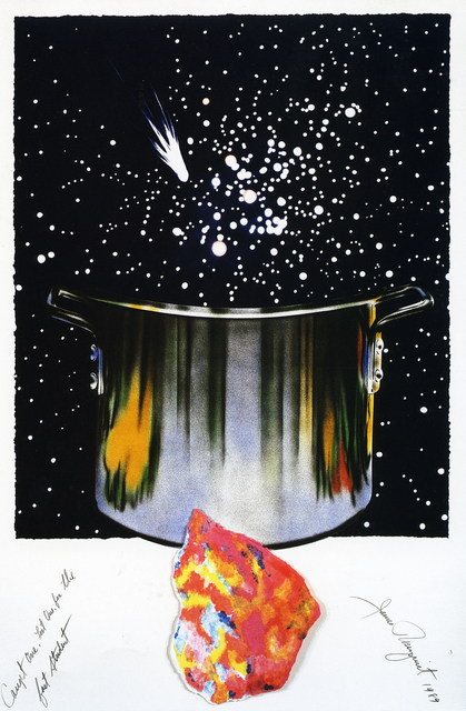 James Rosenquist, 'Caught One, Lost One, For the Fast Student', 1989, Print, Lithograph with pressed paper pulp collage in fourteen colors on hand-colored TGL handmade paper, Meyerovich Gallery