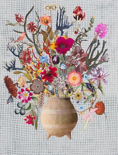 , 'Hong Kong Vase with Weeping Gum, Persian Carpet Flower and Banded Broadbill,' 2017, Lyndsey Ingram