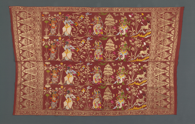 , 'Saput (man's outer hip wrapper), decorated with a story from the Ramayana, depicting Sita, Rawana, and Laksmana, with Rama chasing the golden deer,' Bali, Indonesia, 1929–39, Bard Graduate Center Gallery