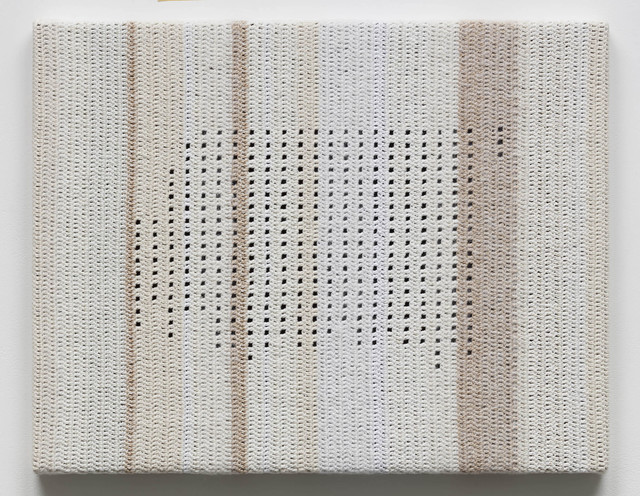 Koh San Keum, 'Text by Oh Se-Chang, Excerpt from Sehando JeChan (Written Impression)', 2019, Mixed Media, Cotton yarn, fabric on wooden panel, Gallery Baton