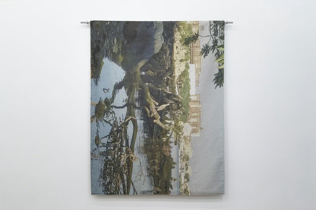 Alien: Jacquard tapestry, galvanized metal tube, steel eye bolts 213 × 180 × 6 cm 2017 Ed.3+1