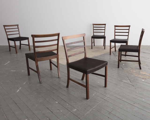 , 'Set of eight (8) Horsehair and Brazilian Rosewood Ladder Back Dining Chairs,' ca. 1940, R & Company