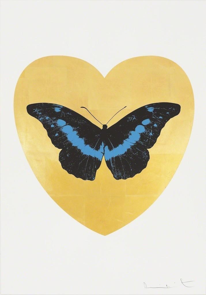 I Love You - gold leaf, black, turquoise