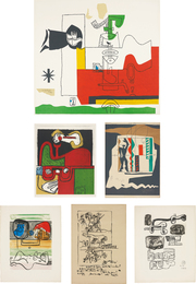 Le Corbusier, 'Totem; Portrait; Modular; Unité: two plates; and Don Quijote,' ca. 1955-1965, Phillips: Evening and Day Editions