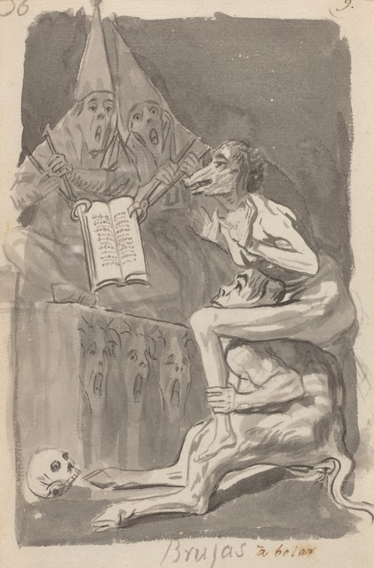 Francisco de Goya, 'Brujas à volar (Witches Preparing to Fly) [verso]', 1796/1797, Drawing, Collage or other Work on Paper, Brush and black ink and gray wash on laid paper, National Gallery of Art, Washington, D.C.