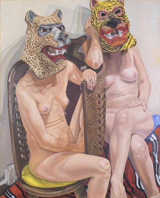 , 'Two Models in Masks with African Chair,' 2015, Templon