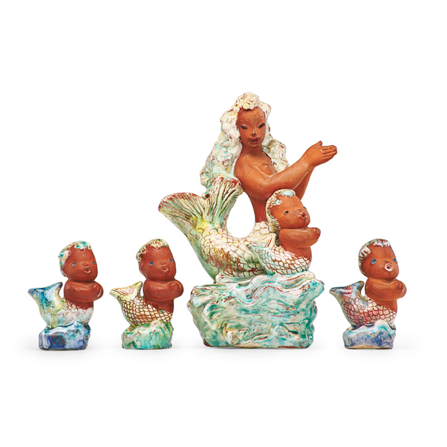 Thelma Frazier, 'Mermaid with four young, USA, mid-20th C.', Partially glazed earthenware, Rago/Wright