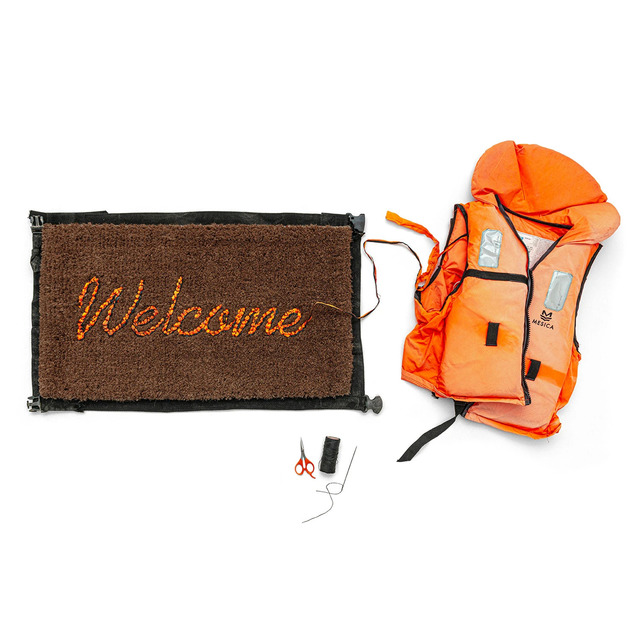 Banksy, 'Welcome Mat', 2020, Ephemera or Merchandise, Refugee Life Vest / Migrant Life Jacket, AYNAC Gallery