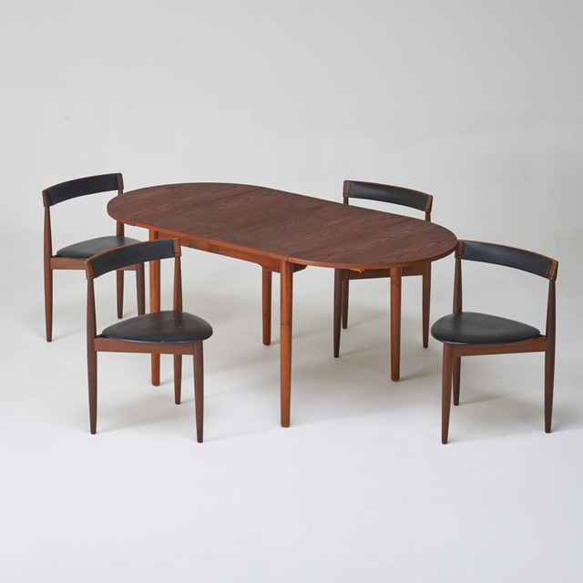 Hans Olsen Set Of Four Leather Back Tripod Nesting Chairs Together With Teak Drop Leaf Extension Dining Table Artsy