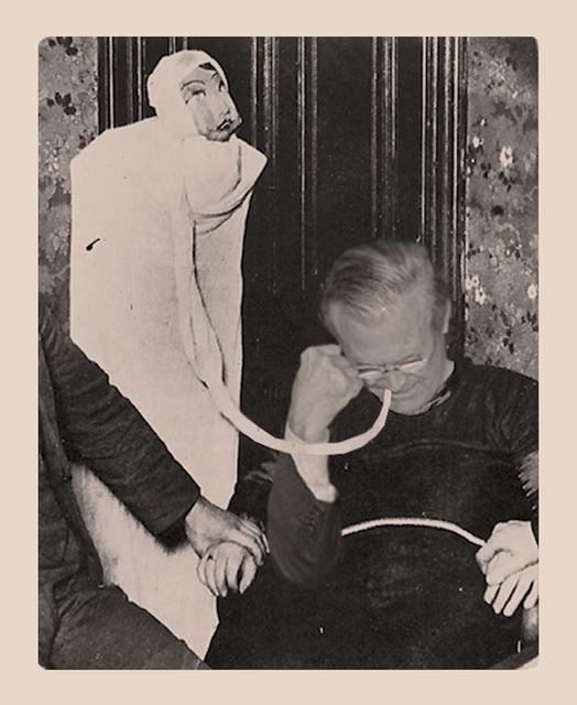 , 'Ectoplasm Phenomena of materialisation with Donald Rumsfeld, Paris, May 12 1913,' 2013, Galerie Laurence Bernard