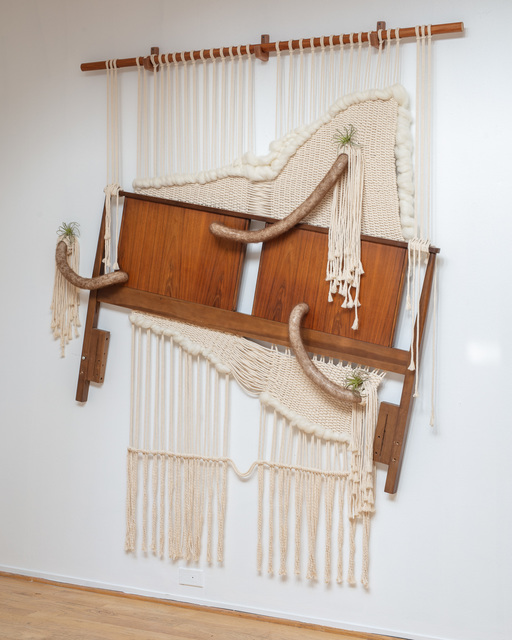 Elizabeth Folk, 'Pure', 2020, Sculpture, Mid-century headboard, macrame, wool, silicone, air plants, LAUNCH LA