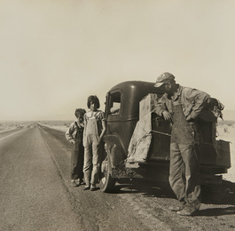 Oklahoma Sharecropper and Family Entering California. Stalled on the Desert Near Indio, California