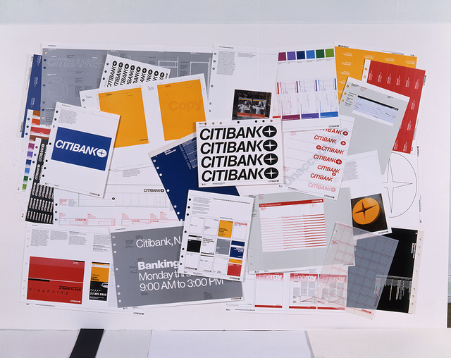 , 'Citibank Manual Press Sheets, reject printed pages from the Citibank Identification Standards Manual,' 1976, AIGA